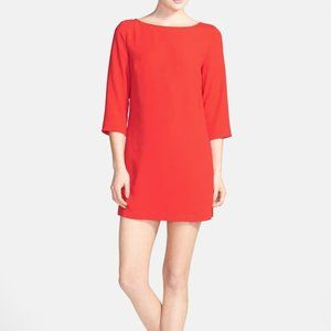 TILDON Boatneck Crepe Shift Dress Coral Medium